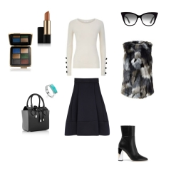 Top: See by Chloé, Skirt: Maje, Vest: Armani, Sunglasses: DITA, Handbag: Michael Kors Collection, Ring: Monica Vinader, Shoes: Jimmy Choo, Cosmetic set + lipstick: Victoria Beckham and Estee Lauder