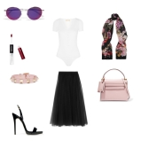 Skirt: Needle & Thread, Top: Michael Kors Collection, Bracelet: Valentino, Handbag: Valentino, Shoes: Giuseppe Zanotti, Scarf: Dolce & Gabbana, Sunglasses: Gucci, Lip Gloss: KIKO MILANO