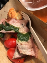 Wood fired Canteen's lamb leg with burned tomatoes, basil salmariglio and torn bread