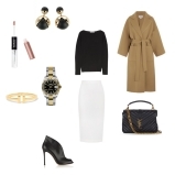 Coat: Loewe, Skirt: Roland Mouret, Top: Max Mara, Earings: Dior, Watch: Rolex, Bracelet: Tiffani Co., Handbag: YSL, Shoes: Gianvito Rossi, Lip Gloss: KIKO MILANO