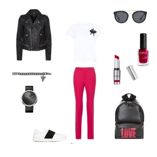 Leather Jacket: Maje, Top: Marc Jacobs, Trousers: Gucci, Backpack: Givenchy, Shoes: Valentino, Watch: Calvin Klein, Bracelet: Givenchy, Sunglasses: Prada, Lipstick + Nail polish: KIKO MILANO