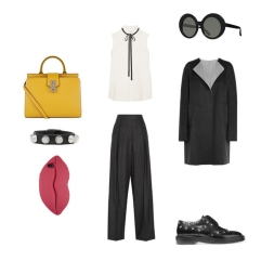 Coat: Jil Sander, Top: Frame, Trousers: Brunello Cucinelli, Shoes: Balenciaga, Sunglasses: Linda Farrow, Phone Cover: Stella McCourtney, Bracelet: Balenciaga, Handbag: Marc Jacobs