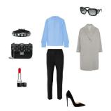 Coat: Brunello Cucinelli, Trousers: Joseph, Blouse: Emilio Pucci, Sunglasses: Prada, Handbag + Bracelet: Valentino, Shoes: Christian Louboutin, Lipstick: Dior