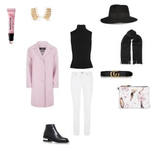 Coat: Weekend Max Mara, Top + Scarf: Acne Studios, Jeans: Paige, Shoes: Nicholas Kirkwood, Earings: Oscar De La Renta, Belt: Gucci, Clutch: Moschino, Hat: Maison Michel, Lipstick: Sephora