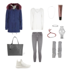 Parka: Mr & Mrs Italy, Top: Reiss, Jeans: L'Agence, Handbag: Anya Hindmarch, Shoes: Adidas Originals, Watch: Michael Kors, Ring + Bracelet + Necklace: Monica Vinader, Lip Gloss: Bobbi Brown, Cashmere Arm Warmers: The Elder Statesman