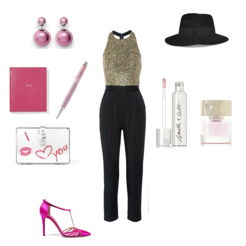 Jumpsuit: Alice + Olivia, Shoes: SJP by Sarah Jessica Parker, Diary: Smythson, Pen: Swarovski, Clutch: D&G, Hat: Maison Michel, Earrings: Dior, Nail polish + Lip Gloss: Smith & Cult