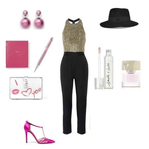 Jumpsuit: Alice + Olivia, Shoes: SJP by Sarah Jessica Parker, Diary: Smythson, Pen: Swarovski, Clutch: D&G, Hat: Maison Michel, Earrings: Dior, Nail polish + Lip Gloss: Smith & Cult