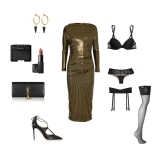 metallic dress: Vivienne Westwood Anglomania lingerie: La Perla shoes: Aquazzuralipstick + eye shadow: NARS clutch: Saint Laurent earrings: Isabel Marant stay-up stockings: Wolford