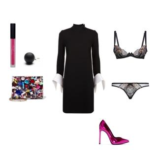 dress: Victoria, Victoria Beckham clutch: Jimmy Choo shoes: Saint Laurent lip Gloss: Huda Beauty ring: Hring Eftir Hring lingerie: Agent Provocateur
