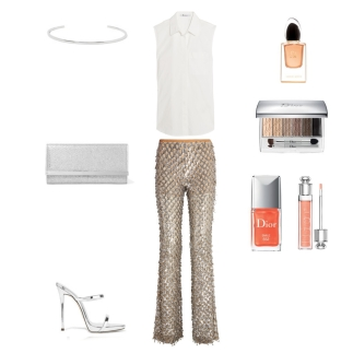 shirt: T by Alexander Wang trousers: Michael Kors collection clutch: Jimmy Choo shoes: Guiseppe Zanotti necklase: Jennifer Fisher makeup: Dior Harrods Exclusive freakvance: Armani SI