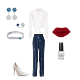 top: Michael Kors Collection trousers: Sonia Rykiel shoes: Gianvitto Rossi clutch: Alison Lou jewellery: Swarovskinails polish: O.P.I.