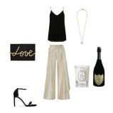Trousers: Oscar De La Renta, Top: Theory, Clutch: Lanvin, Shoes: Stuard Weitzman, Necklace: Cornelia Webb, Champagne: Dom Perignon, Candle: Diptyque
