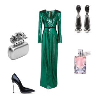 Gown: Roland Mouret, Clutch: Alexander McQueen, Shoes: Casadei, Earrings: Oscar De La Renta, Fragrance: Lancôme
