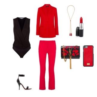 Shoes: Givanchi, Trousers and Blazer: Versace, Necklase: Chloe, handbag: YSL, body suit: Diane Von Furstenberg