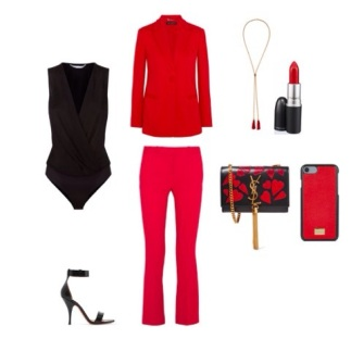 Shoes: Givanchi, Trousers and Blazer: Versace, Necklase: Chloe, handbag: YSL, body suit: Diane Von Furstenberg